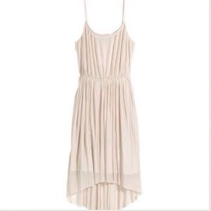 H&M Pleated Accordion High Low Dress Cream/Nude